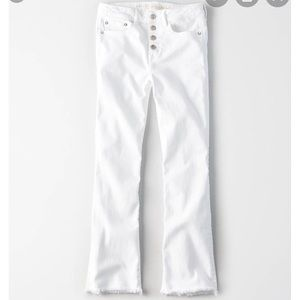 American Eagle White Cropped Flare Denim (0 Short)